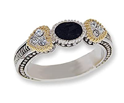 YourJewelleryBox CR4073J Womens Two toned antiqued silver tone CZ Jet Black Eternity Band Ring