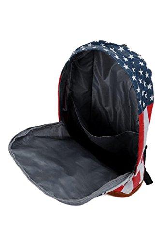 SODIAL (R) Moda Donna Uomo School Book Campus Zaino della cartella US Flag modello