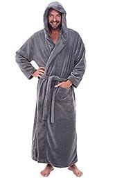 Del Rossa Men\'s Fleece Robe, Long Hooded Bathrobe, Small Medium Steel Gray (A0125STLMD)