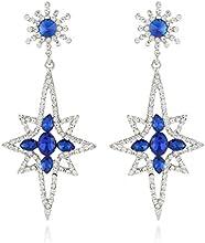 Ever Faith Snowflake Star Earrings Sapphire Color Austrian Crystal Silver-Tone N03515-4
