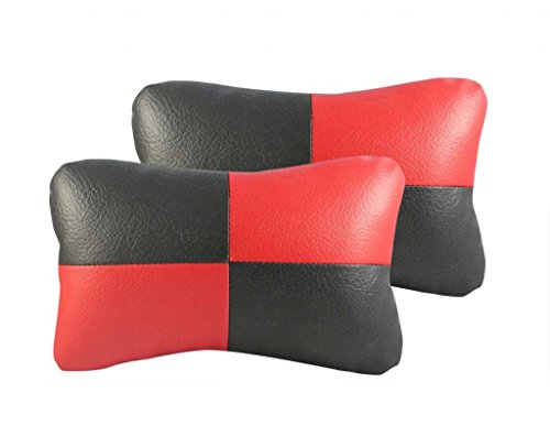 Vheelocity 70810 Designer Seat Neck Cushion Pillow for Car (Set of 2, Black and Red)