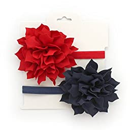 My Lello 2 Pack Infant Baby Headbands Mixed Colors Fabric Petal Flowers (Red/Navy)