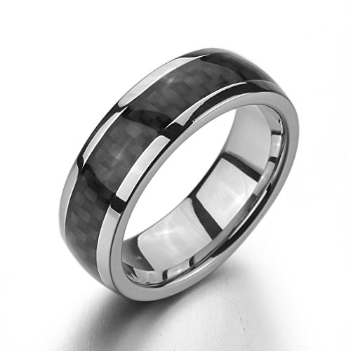 Men'S Stainless Steel Carbon Fiber Rings Band Silver Black Charm Elegant Size12