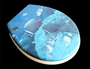 """Siège toilette duroplast modèle poissons"""" avec abattant automatique amovible pour le nettoyage (soft close, descente progression)"""