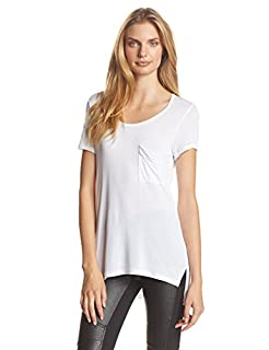 BCBGMAXAZRIA Women's Lisa Pocket Front Scoop Tee, White, Medium