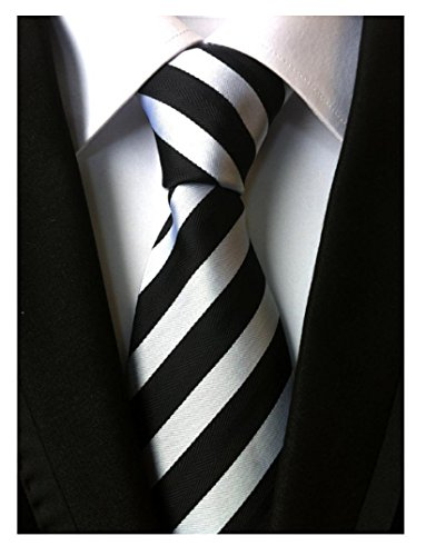 Allbebe Men's Classic Striped Black And White Woven Silk Tie Microfiber Necktie, One size (Skinny Silk Ties For Men compare prices)