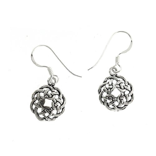 .925 Sterling Silver Nickel Free Celtic Round Knot Irish Basket Design French Hook Earrings