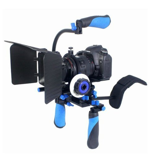 CamSmart DSLR Shoulder Rig with Counter Weight, Follow Focus and Matte box Kit for Digital SLR Camera, Canon Nikon Panasonic