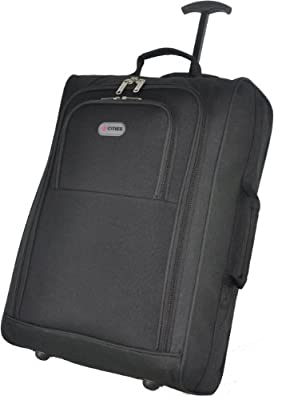 Frenzy/5Cities Lightweight Hand Luggage Bag - Approved Ryanair 2 Wheeled Cabin Baggage. 42L Travel Suitcase Holdall Includes Padlock! (Black Plain)