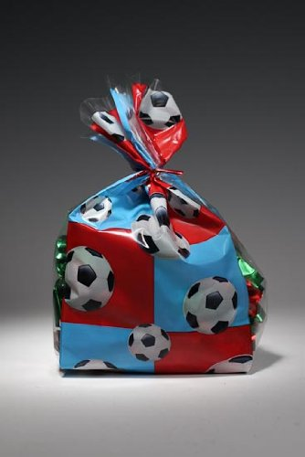 100 Soccer Sport Theme Poly Treat Bags with Ties