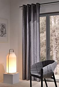 gardine senschal 140 x 245cm grau anthrazit schrumpf optik sehr hochwertig leicht. Black Bedroom Furniture Sets. Home Design Ideas