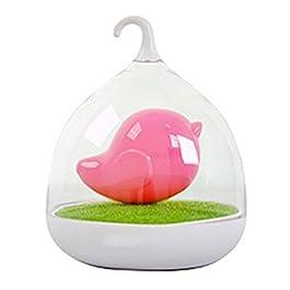 niceEshop(TM) Lampe Créative de Capteur de Forme D'oiseau USB Rechargeable Lumière de Nuit ( Rose)