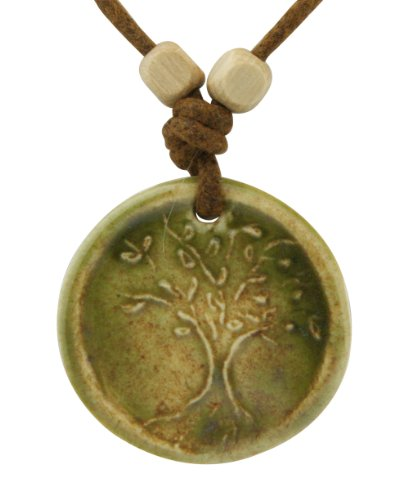 Ceramic Jewelry: Tree of Life Pendant Necklace, Sage Green