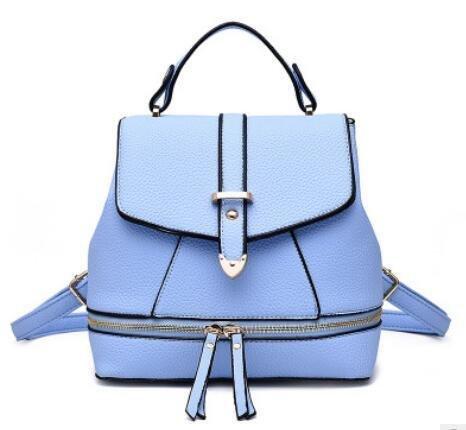 PU cuoio Casual Female Student magnetici automatici zaino tracolla Messenger Handbag , days blue