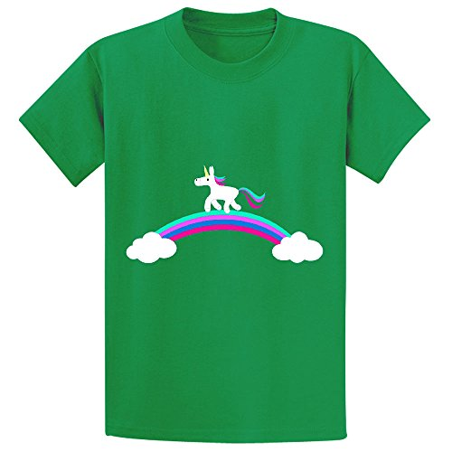 Mcol Unicorn Rainbow Clouds Youth Crew Neck Print T Shirts Green (Mean Green Juice compare prices)