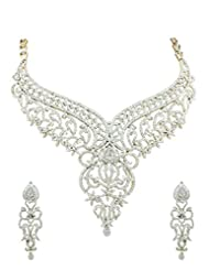 Designer AD CZ Choker Necklace Set In Golden Silver Polish