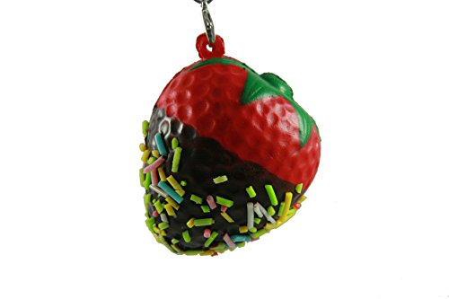 red strawberry with chocolate squishy cellphone charm - 1