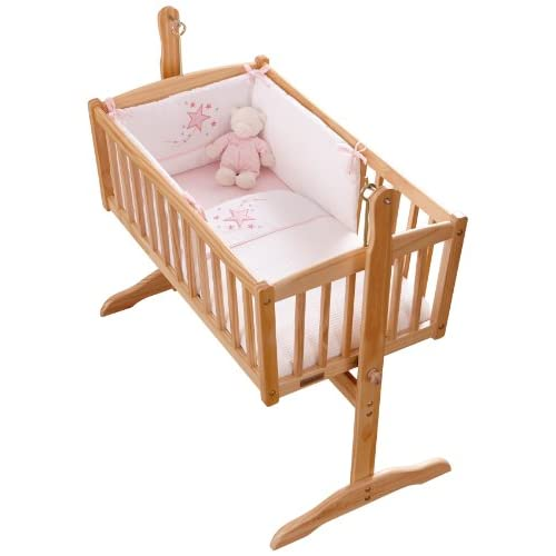 Clair de Lune Stardust Rocking Crib  Cradle Quilt and Bumper Set (Pink)