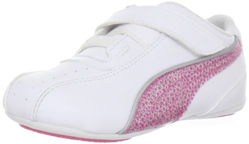 Puma Tallula Glamm V Sneaker (Toddler/Little Kid/Big Kid),White/Hot Pink/Puma Silver,7 M US Toddler