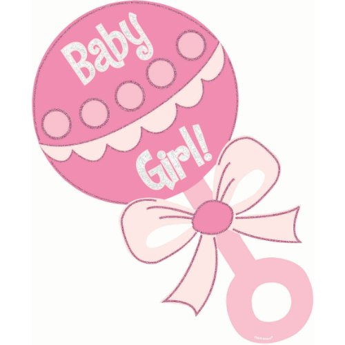Baby Girl Rattle Glitter Cutout - 1