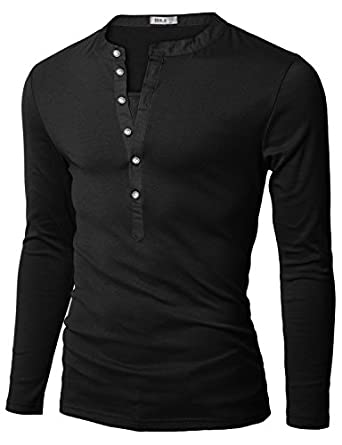Doublju Mens Henley T-shirts with Long Sleeve BLACK (US-XS)