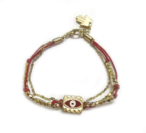 Red Cord Bracelet with Golden Cube and Evil Eye - Hamsa/Hand of Fatima Charm