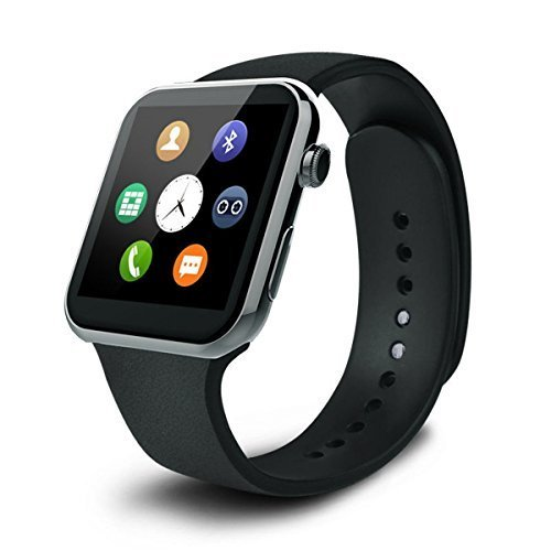 Pandaoo A9 Smart Watch with Heart Rate Monitor and Bluetooth for Android 4.2 and Above, Black