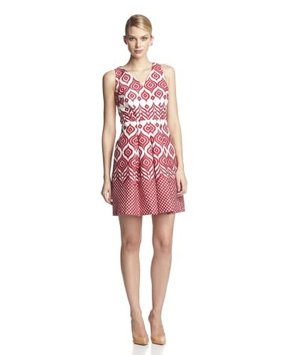 Taylor Women's Sleeveless V Neck Printed Flare Dress
