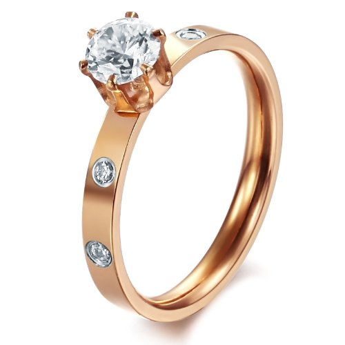 Opk Jewellery Fashion Women's Rings Inlaid 5mm Shiny CZ Rhinestone Rose Gold Plated Titanium Steel Finger Band Wedding Engagement Jewellery New Style Ring
