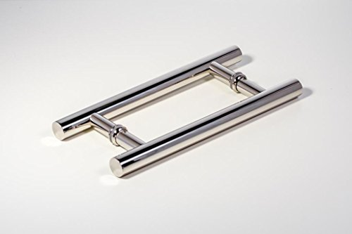 Modern & Contemporary Round Bar/Ladder/H-Shape Style 450mm / 18 inches Push-Pull Stainless-Steel Door Handle for Entrance/Entry/Shower/Glass/Shop/Store, Interior/Exterior Barn & Gates - Chrome Mirror-Polished Finish (18 Inch Interior Door compare prices)