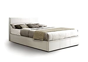 Otto-Garrison Ottoman Double Storage Bed Upholstered in Faux Leather, 4 ft 6, White by Otto-Garrison