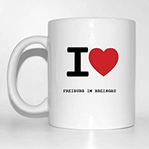 I love FREIBURG IM BREISGAU Kaffeetasse Tasse Becher Cup Mug - Farbe: weiß