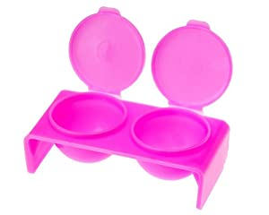 Godets Plastique Dappen - 2 Petits Puits Trempage Manucure Nail Art Liquides Couleur Rose par VAGA®