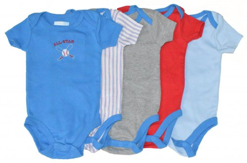 Vitamins Baby Baby-Boys Newborn Lil All Star 5 Pk Bodysuits, Blue, 9 Months back-984942