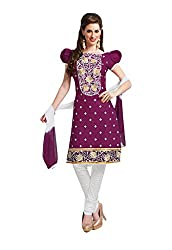 Ishin Cotton Purple & White Printed Unstitched Dress Material