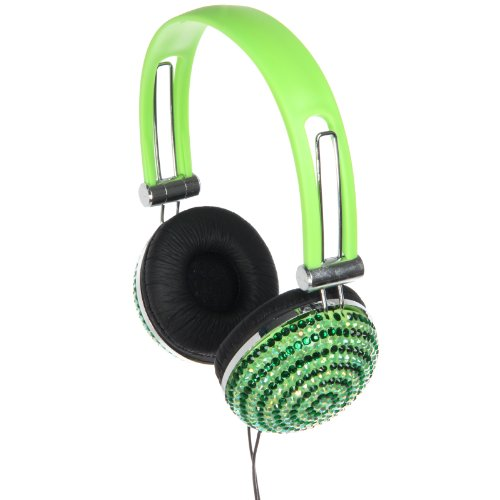 Edm Rhinestone Over Ear Dj Style Headphones (Green Swirl)