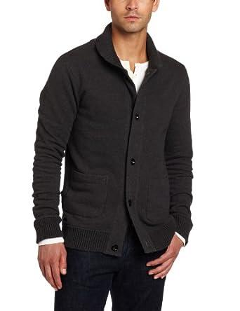 J.C. Rags Men's Collar Sweat Knit Cardigan, Graphite Melange, Medium