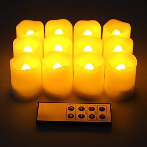 Kohree Set Of 12 Ivory Flameless Pillar Votive Candles With Remote And Timer-Wave Edge, Battery Operated