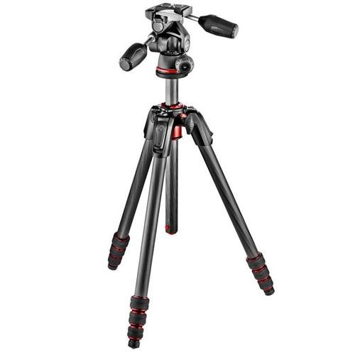 Manfrotto MK190GOC4B-3WUS 190 GO! 4 Section Carbon Fiber Tripod with 3 Way Head (Black) (Manfrotto Carbon Tripod compare prices)