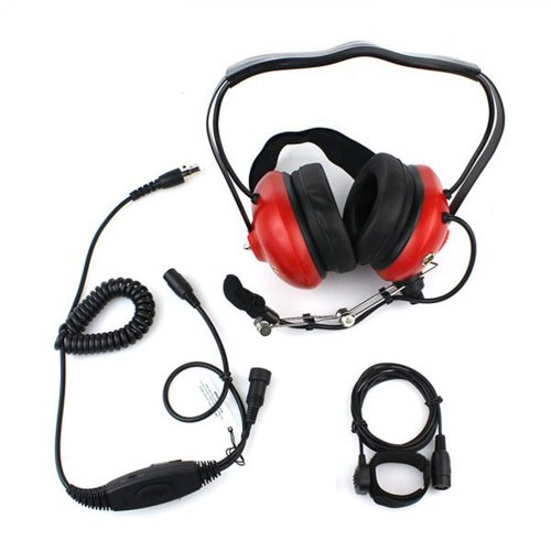 Red Color Military Professional Noise Cancelling Overhead Headset Earpiece Boom Microphone With Ptt For 2-Pin Motorola Radio Cp040 Cp200 Xtni Dtr Vl50
