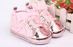 Bebe First Walkers Kids Toddler Shoes Sapatos Baby Lace-up Rose Flower Soft Sole Girl Shoes Pink Color (4 US Size, Pink)