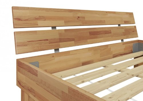 Doppelbett Futonbett 140x200 Französisches Bett Buche massiv mit Rollrost 60.80-14