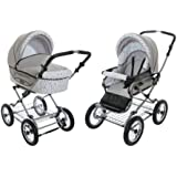 Roan Kortina Classic Pram Stroller 2-in-1 with Bassinet and Seat - Grey-white with Stripes and Dots
