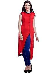 Isha Enterprise Women's Cotton Red Kurti
