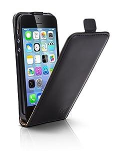 Mobiletto Premium ECHT Leder Flip Case für Apple iPhone 5S schwarz