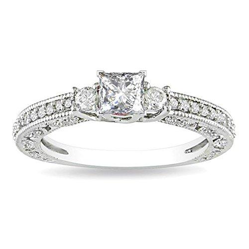 0.58 Carat Three Stone Cheap Wedding Ring with Princess cut Diamond on 18K White gold