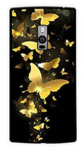 """Humor Gang Golden Butterflies Printed Designer Mobile Back Cover For """"OnePlus Two"""" (2D, Glossy, Premium Quality Snap On Case)"""