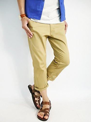 (モノマート) MONO-MART ストレッチ クロップド チノパンツ 快適 テーパード パンツ 膝丈 ロールアップ 夏 カラー 丈 メンズ