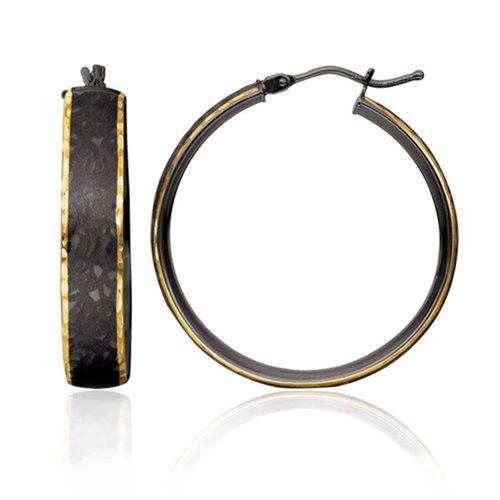 14K 2 Tone Chocolate Gold Diamond Cut & Satin Hoop Earrings (24mm)