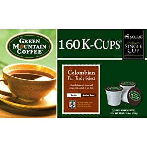Green Mountain Coffee Columbian Caffeinated Coffee for Keurig Brewing Systems, 160 K-Cups